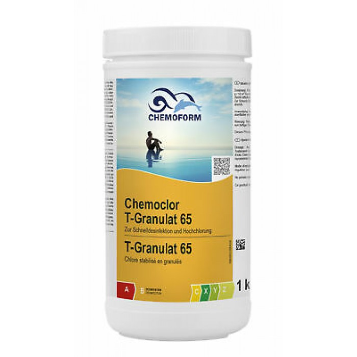 Greito tirpimo chloras CHEMOFORM CHEMOCLOR T-65 (chloro šokas) granulės, 1kg